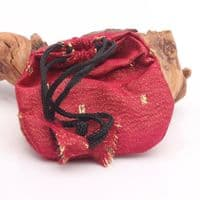 Red and Gold Silk pouch with drawstring